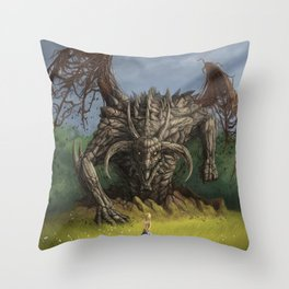 Fantastic Fantasy Earth Dragon Surfacing From Ground Scaring Little Girl Ultra HD Throw Pillow