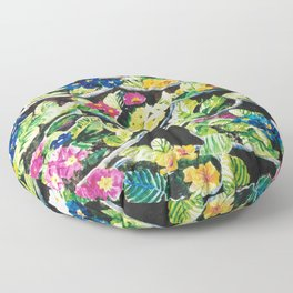Watercolor Primroses on Wrinkled Paper Floor Pillow