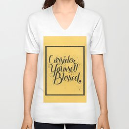 """THE YELLOW COLLECTION — """"CONSIDER YOURSELF BLESSED"""" Unisex V-Neck"""