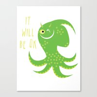 reassurance Canvas Prints featuring Squid of Reassurance by makoshark