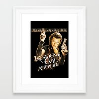 resident evil Framed Art Prints featuring Milla Jovovich Resident Evil Afterlife by f3mal3s