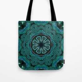 Blue and Turquoise Fractal Kaleidoscope Tote Bag