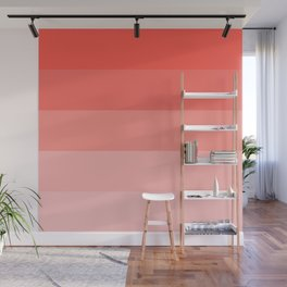 Living Coral Gradient Stripes Wall Mural