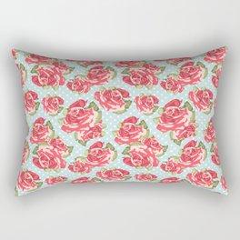 English Roses Blue Polka Dots Rectangular Pillow