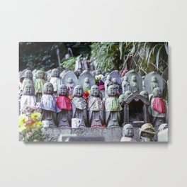 Rows of small Jizo monk statues with bibs Metal Print