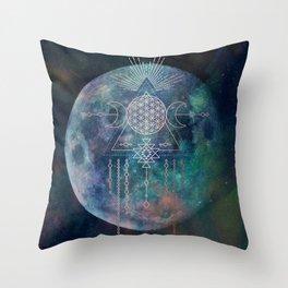 Lunar Goddess Mandala Throw Pillow
