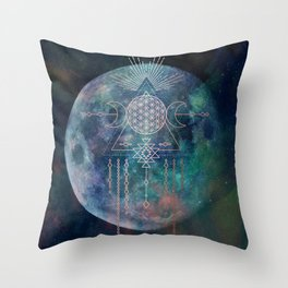 Lunar Goddess Mandala Throw Pillow
