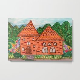 Cozy Little Cottage Drawing Metal Print