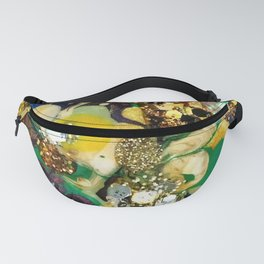 Pineapple Yellow Blue Green Multicolor Acrylic Painting Fanny Pack