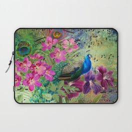 Elegant Peacock Image and Musical Notes Laptop Sleeve
