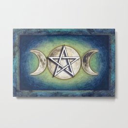 Moon Pentagram - Tripple Moon II Metal Print