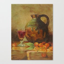 Still Life Wine and Fruit Canvas Print