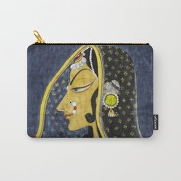 Bani Thani female portrait painting in traditional Rajasthani, the Mona Lisa of India by Nihal Chand Carry-All Pouch
