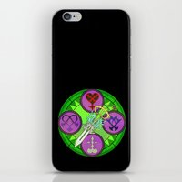 kingdom hearts iPhone & iPod Skins featuring Kingdom Hearts stained glass illustration  by Paul Giovinco