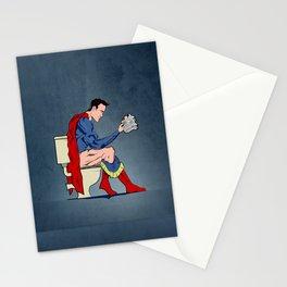 Superhero On Toilet, Restroom, bathroom art Stationery Cards