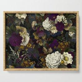Dutch Vintage Midnight Flower Garden  Serving Tray