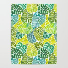 Tropical Leaves Alocasia Elephant Ear Plant Blue Green Poster