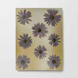 Gray and Yellow Flower Art Metal Print