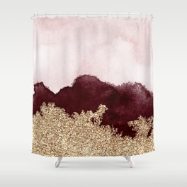 Red gold peaks ink Shower Curtain