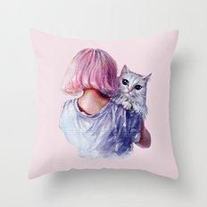 Pink Cuddles Throw Pillow
