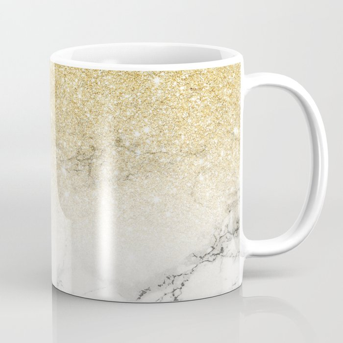 Modern faux gold glitter white marble color block Coffee Mug