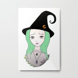 Inktober - Agnes the Witch Metal Print
