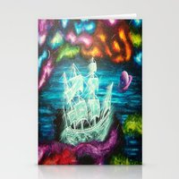 spaceship Stationery Cards featuring Spaceship by Kaila Hernandez