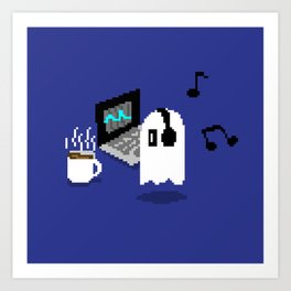 Chilling Napstablook With Laptop and Coffee Undertale Pixel Art Cute Art Print