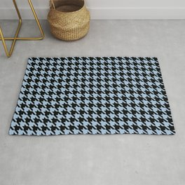 Black and Pale Blue Classic houndstooth pattern Rug