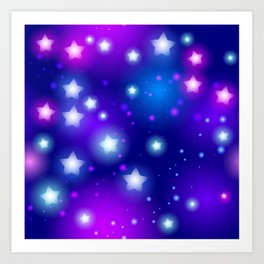 Milky Way Abstract pattern with neon stars on blue background Art Print