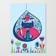 HUNGRY CAT & LITTLE BIRDIE Canvas Print