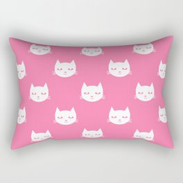 Cat minimal illustration pet cats head drawing digital pattern pink and white nursery art Rectangular Pillow