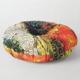 Asian Mandala Elephant Blue Orange Yellow Green Floor Pillow