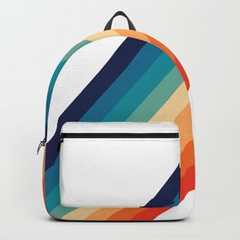 Retro 70s Stripe Colorful Rainbow Backpack