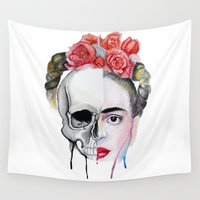 frida kahlo Wall Tapestries featuring Frida Kahlo  by Karol Gallegos Carrera