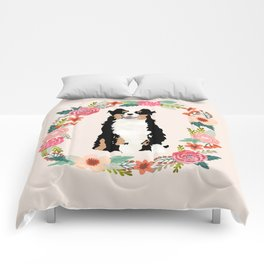 australian shepherd tricolored floral wreath dog gifts pet portraits Comforters