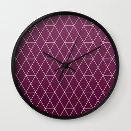 Plum Geometric Pattern Wall Clock