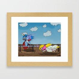 Mustache Unicorn Joust Framed Art Print