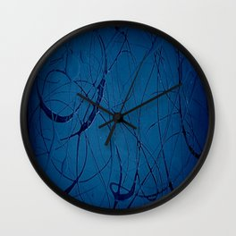 Navy Blue - Jackson Pollock Style Art - Abstract - Expressionism - Corbin Henry Wall Clock