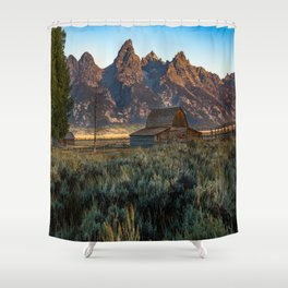 Wyoming - Moulton Barn and Grand Tetons Shower Curtain