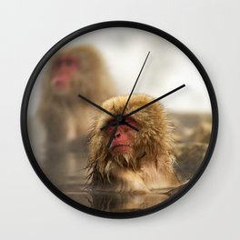 Snow Monkeys on Hot Spring Wall Clock