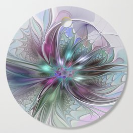 Colorful Fantasy Abstract Modern Fractal Flower Cutting Board