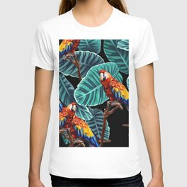 tropical leaves macaw pattern 2 T-shirt
