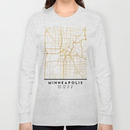 MINNEAPOLIS MINNESOTA CITY STREET MAP ART Long Sleeve T-shirt