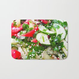 Fresh vegetable salad Bath Mat
