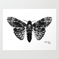 Skeleton Moth Art Print