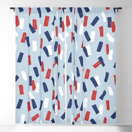 American confetti party minimal paper strokes 4th of July celebration pattern blue Blackout Curtain