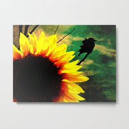 Sunflower Black Bird Silhouette Modern Country Farmhouse Art A595 Metal Print