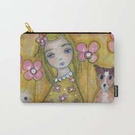 Blonde Girl with Dogs by Flor Larios Carry-All Pouch