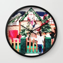 The girl who waiting for Christmas miracle, Lisbon, Portugal Wall Clock